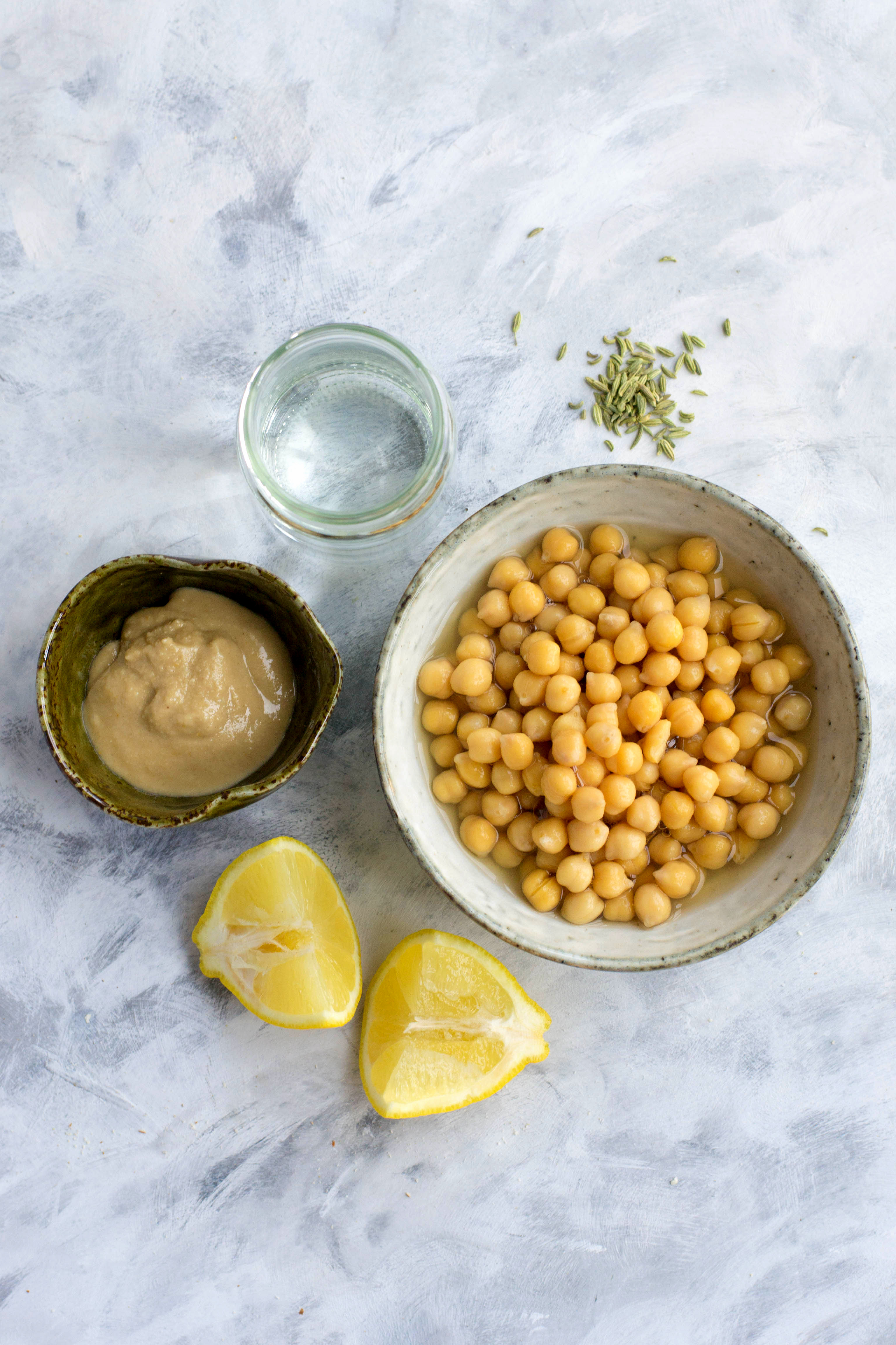 The ingredients you need to make my version of the classic hummus recipe