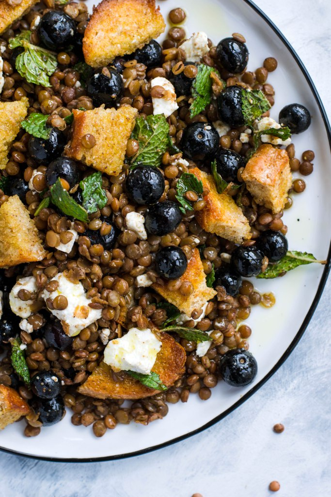 Lentil salad with blueberries, feta, and homemade bread croutons