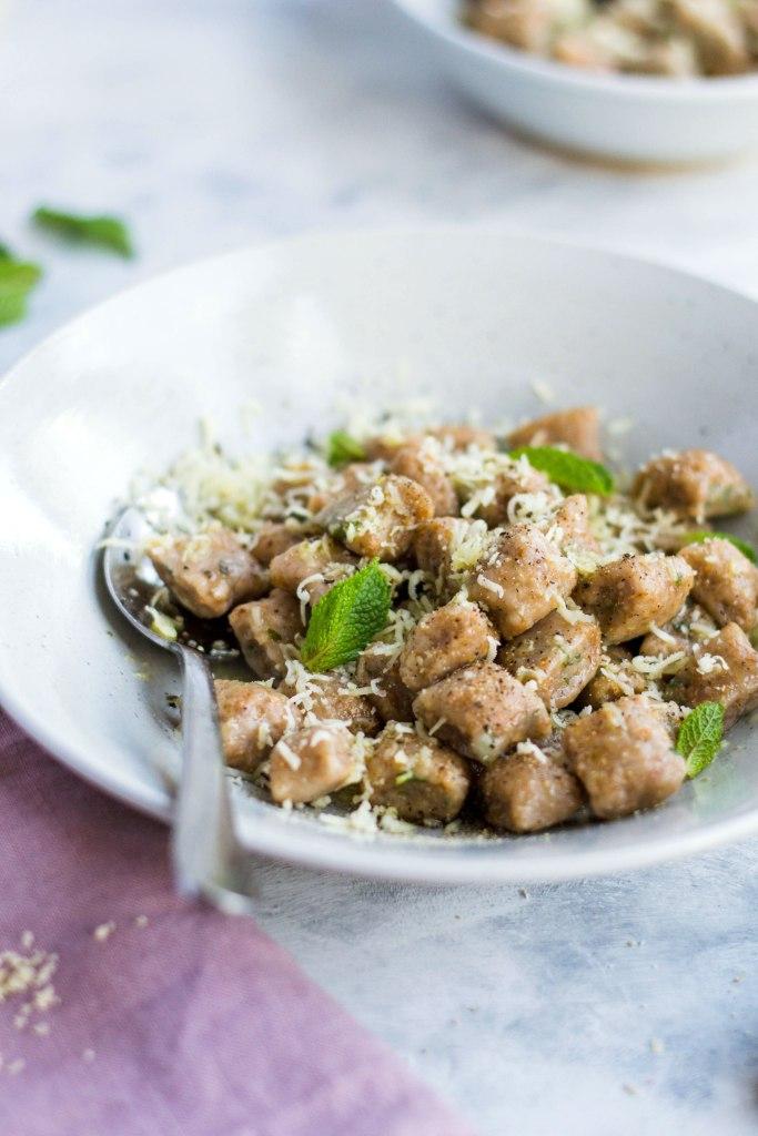 Gnocchi di pane (bread gnocchi) with mint