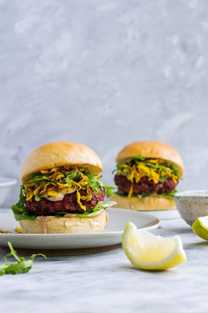 Lentil and beetroot veggie burgers (recipe and photos from amatterofnourishment.com)