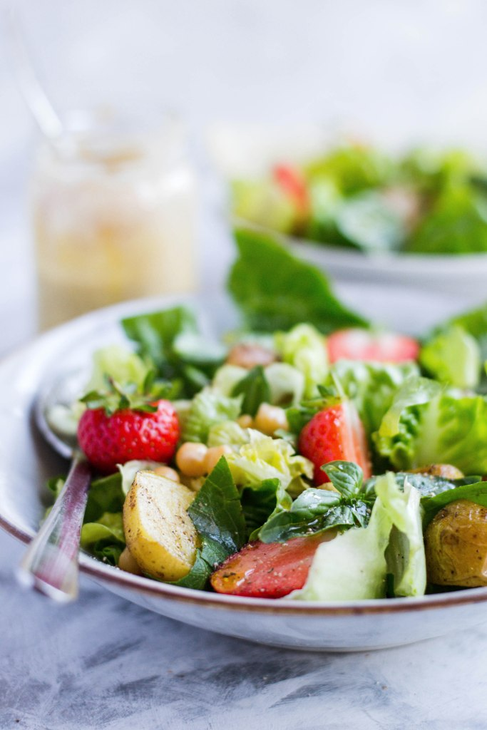 Potato, strawberry, and chickpea salad with the easiest nut butter dressing