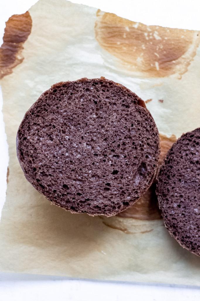 Crumb shot of cocoa bread